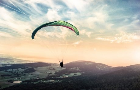 paragliding-at-sun-set